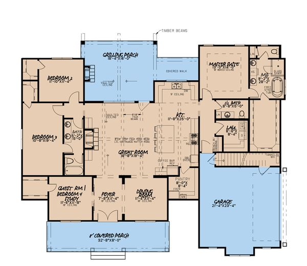 Dream House Plan - Craftsman Floor Plan - Main Floor Plan #923-175