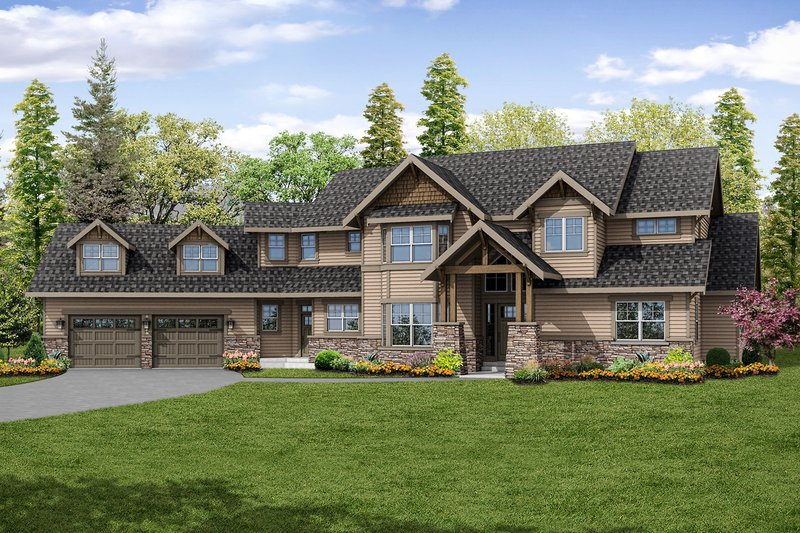 Craftsman Style House Plan - 3 Beds 3.5 Baths 4400 Sq/Ft Plan #124-1032 Exterior - Front Elevation