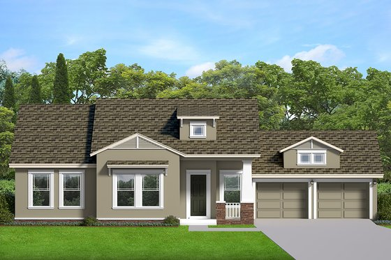 Ranch Exterior - Front Elevation Plan #1058-188