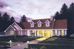 Architectural House Design - Country Exterior - Front Elevation Plan #57-125