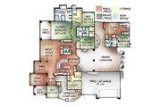 Mediterranean Style House Plan - 4 Beds 3.5 Baths 3443 Sq/Ft Plan #24-249 Floor Plan - Main Floor Plan