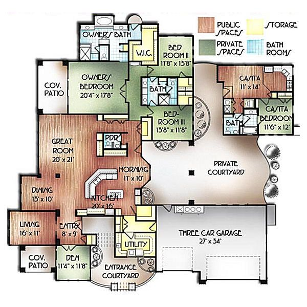 Mediterranean Floor Plan - Main Floor Plan Plan #24-249