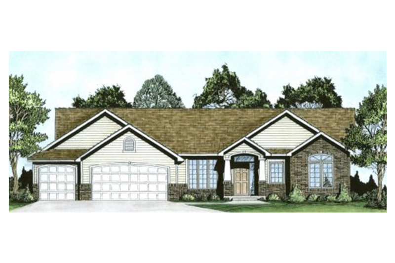 Ranch Style House Plan - 3 Beds 2 Baths 1764 Sq/Ft Plan #58-198 Exterior - Front Elevation