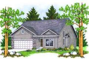 Ranch Style House Plan - 2 Beds 2 Baths 1734 Sq/Ft Plan #70-658 Exterior - Front Elevation
