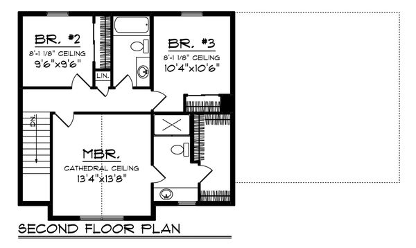 Farmhouse Floor Plan - Upper Floor Plan Plan #70-1453
