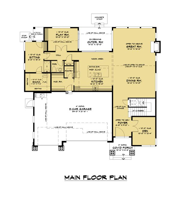 Contemporary Floor Plan - Main Floor Plan Plan #1066-121