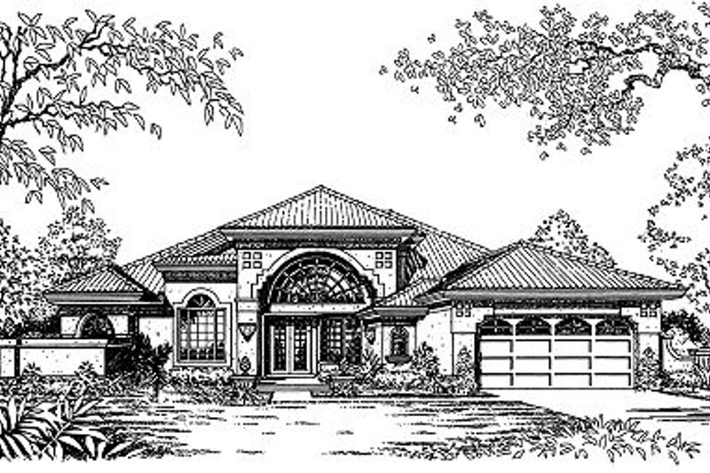 Mediterranean Style House Plan - 4 Beds 2 Baths 2060 Sq/Ft Plan #417-187 Exterior - Front Elevation