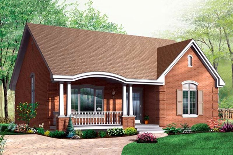 Traditional style home in a Bungalow design, front elevation