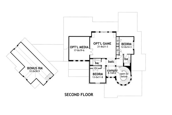 Craftsman Floor Plan - Upper Floor Plan Plan #120-173