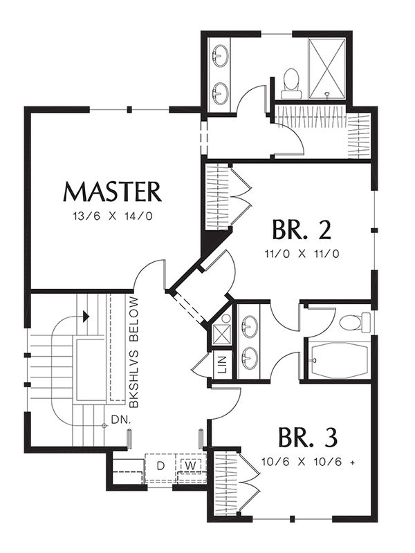 Traditional Floor Plan - Upper Floor Plan Plan #48-509