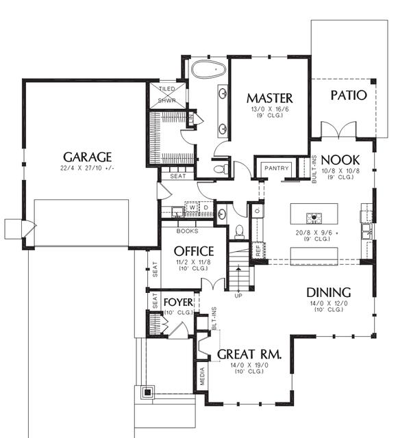 Craftsman Floor Plan - Main Floor Plan #48-708