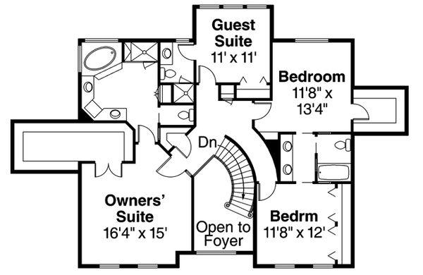 European Floor Plan - Upper Floor Plan Plan #124-271