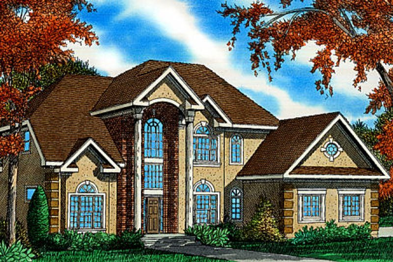 Colonial Exterior - Front Elevation Plan #405-213