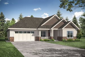 Ranch Exterior - Front Elevation Plan #124-1165