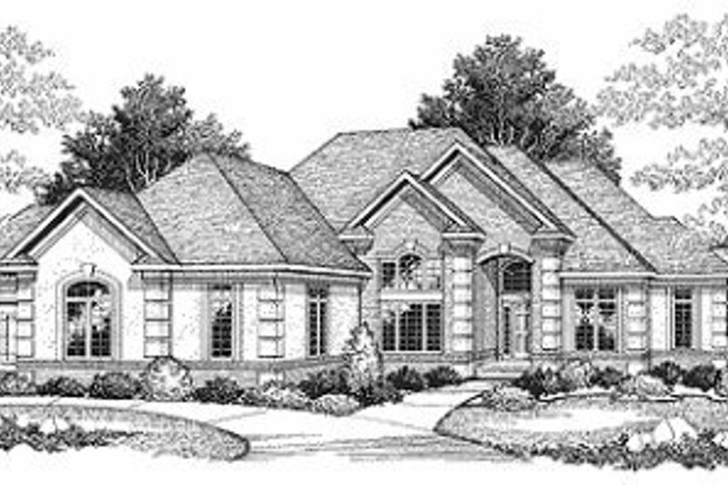 European Exterior - Front Elevation Plan #70-370