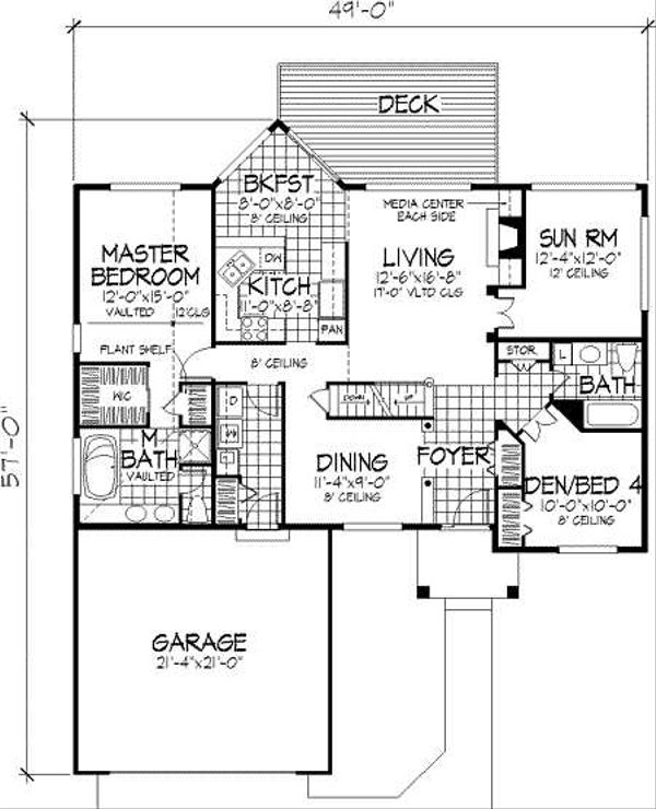 European Floor Plan - Main Floor Plan Plan #320-149