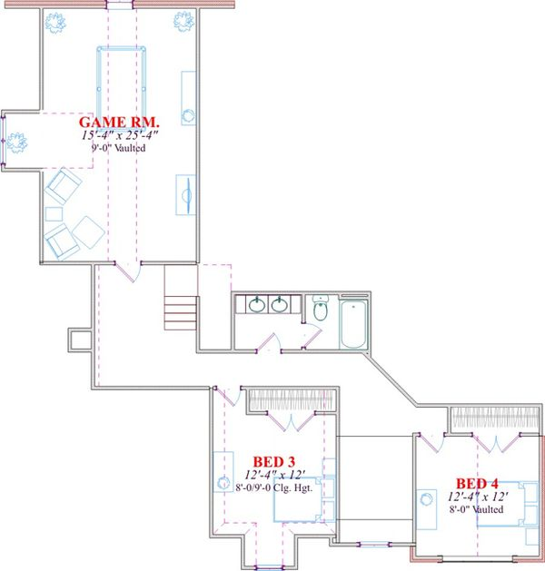 Traditional Floor Plan - Upper Floor Plan Plan #63-285