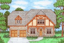 Dream House Plan - Tudor Exterior - Front Elevation Plan #413-879
