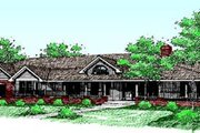 Ranch Style House Plan - 5 Beds 3 Baths 2596 Sq/Ft Plan #60-207 Exterior - Front Elevation