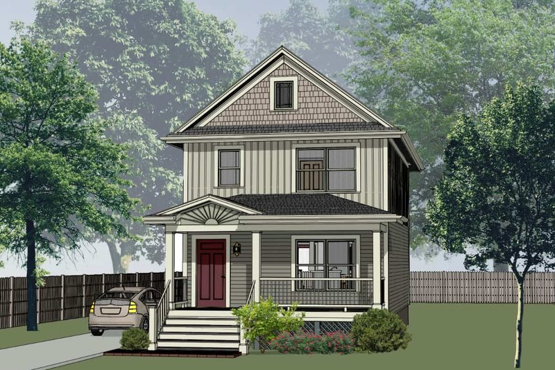 Craftsman Style House Plan - 3 Beds 2 Baths 1167 Sq/Ft Plan #79-311 Exterior - Front Elevation