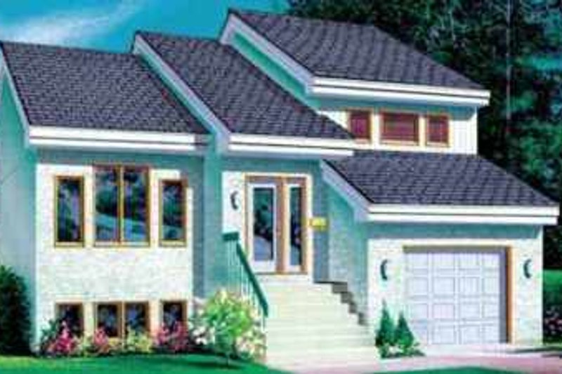 Modern Style House Plan - 3 Beds 1.5 Baths 1707 Sq/Ft Plan #25-3041 Exterior - Front Elevation