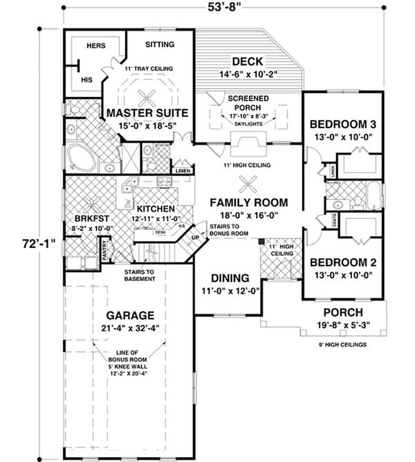 Craftsman Style House Plan - 3 Beds 2 Baths 1800 Sq/Ft Plan #56-631 Floor Plan - Main Floor Plan