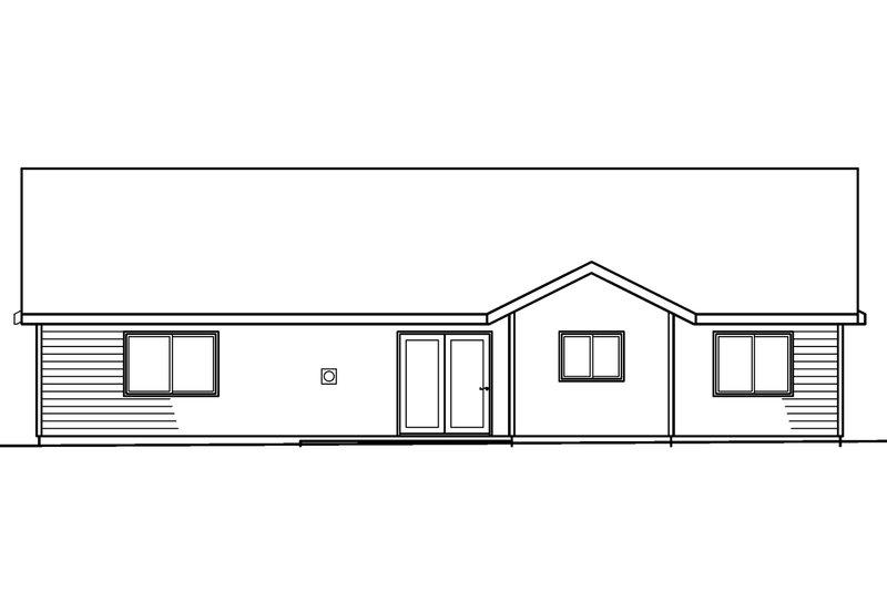 Ranch Exterior - Rear Elevation Plan #124-379 - Houseplans.com
