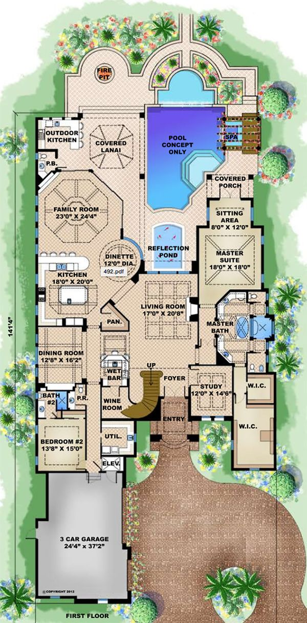 Mediterranean Floor Plan - Main Floor Plan Plan #27-537