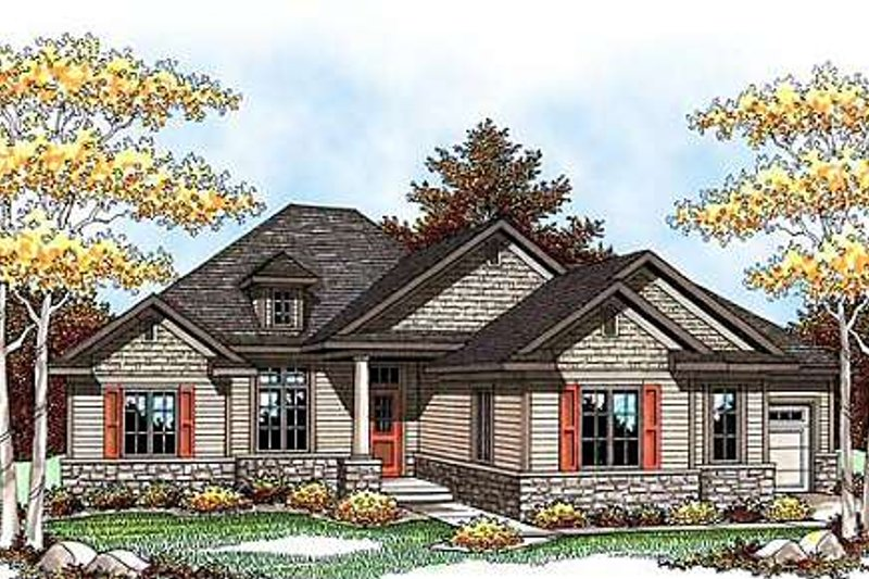 Country Exterior - Front Elevation Plan #70-921