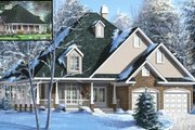 European Style House Plan - 3 Beds 2 Baths 1974 Sq/Ft Plan #25-4117 Exterior - Front Elevation