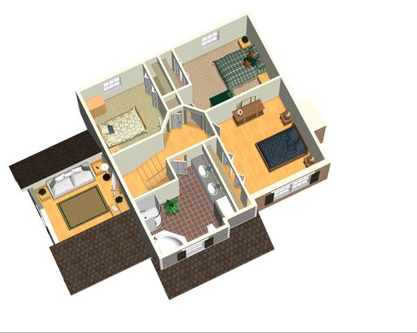 Traditional Floor Plan - Upper Floor Plan Plan #25-4696