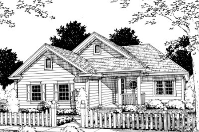 Traditional Style House Plan - 2 Beds 2 Baths 1134 Sq/Ft Plan #20-351 Exterior - Front Elevation