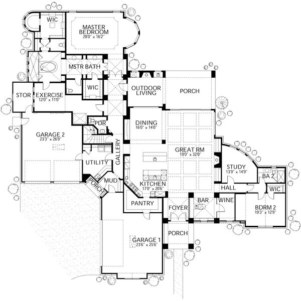 House Plan Design - Mediterranean Floor Plan - Main Floor Plan #80-214