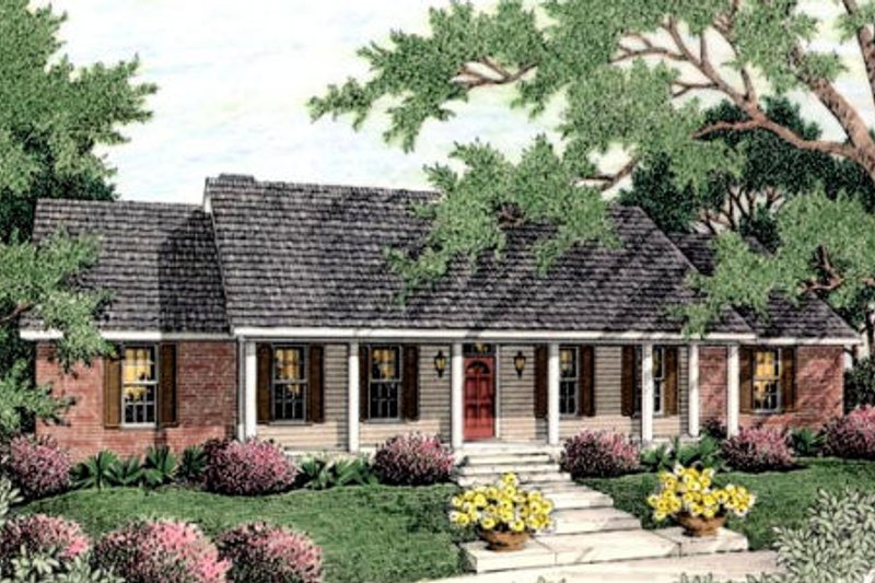 Farmhouse Style House Plan - 3 Beds 3 Baths 2061 Sq/Ft Plan #406-126 Exterior - Front Elevation