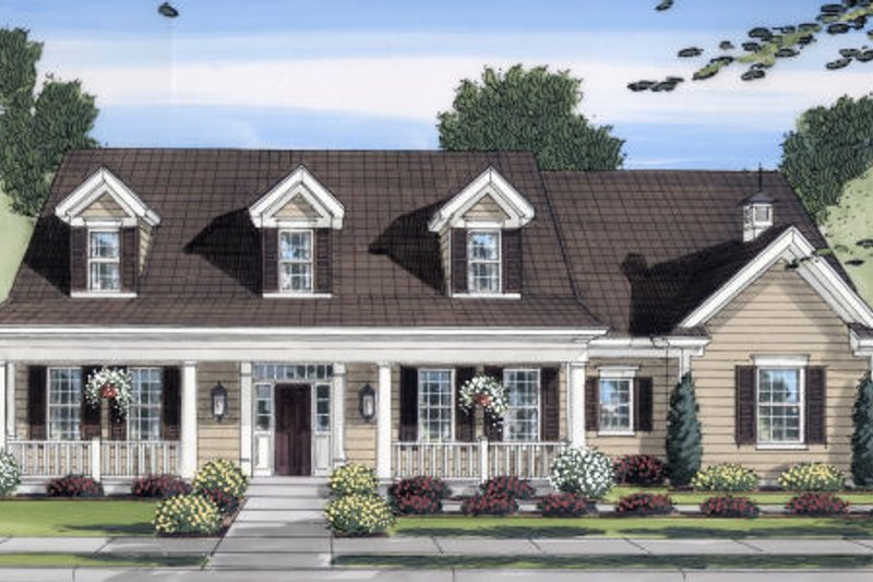 Cottage Exterior - Front Elevation Plan #46-434