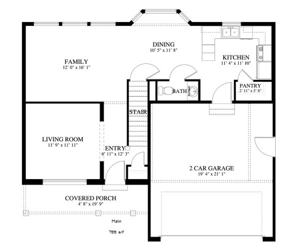 Traditional Floor Plan - Main Floor Plan Plan #1060-4