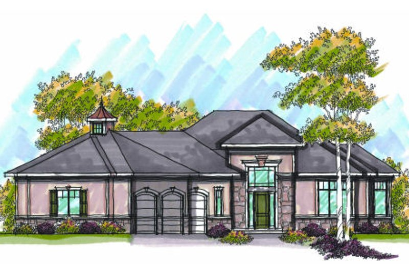 European Exterior - Front Elevation Plan #70-958