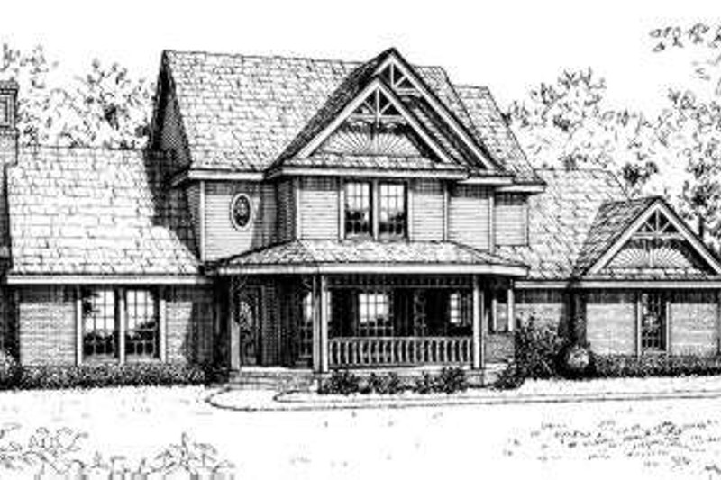 Victorian Style House Plan - 3 Beds 2.5 Baths 1995 Sq/Ft Plan #310-175 Exterior - Front Elevation