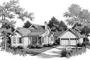 Traditional Style House Plan - 3 Beds 2 Baths 1391 Sq/Ft Plan #41-176 Exterior - Front Elevation