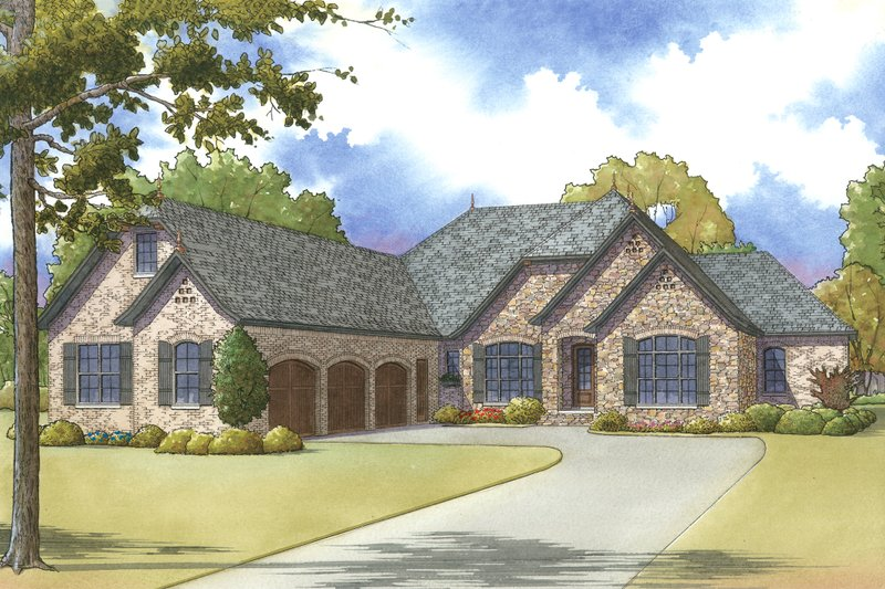 European Exterior - Front Elevation Plan #923-27