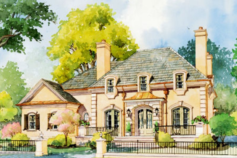 European Style House Plan - 5 Beds 4 Baths 3695 Sq/Ft Plan #429-42 Exterior - Front Elevation