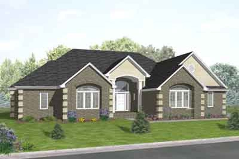 Traditional Style House Plan - 3 Beds 2.5 Baths 2566 Sq/Ft Plan #50-258 Exterior - Front Elevation