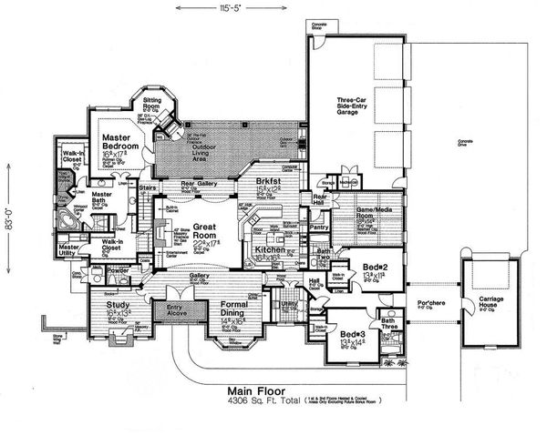 European Floor Plan - Main Floor Plan Plan #310-1296