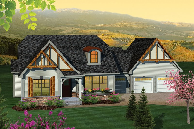 Craftsman Exterior - Front Elevation Plan #70-1042