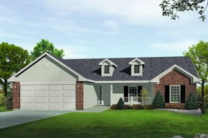 Ranch Exterior - Front Elevation Plan #22-522