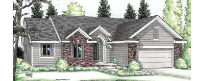 Traditional Style House Plan - 3 Beds 2 Baths 1360 Sq/Ft Plan #20-111 Exterior - Front Elevation