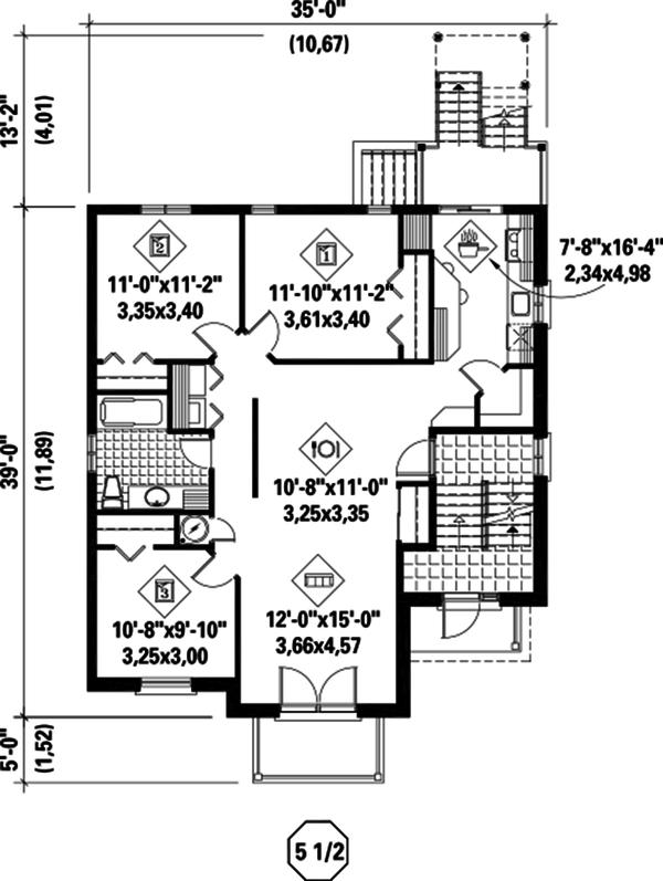 Contemporary Floor Plan - Main Floor Plan Plan #25-4381