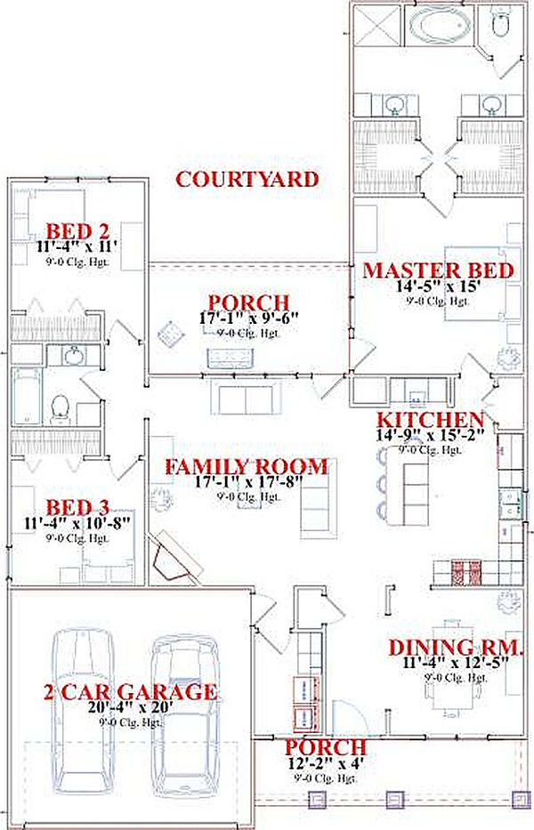 Bungalow Style House Plan - 3 Beds 2 Baths 1787 Sq/Ft Plan #63-183 Floor Plan - Main Floor Plan