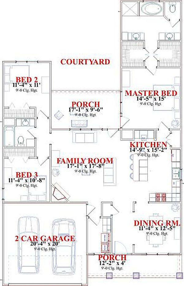 Bungalow Floor Plan - Main Floor Plan #63-183