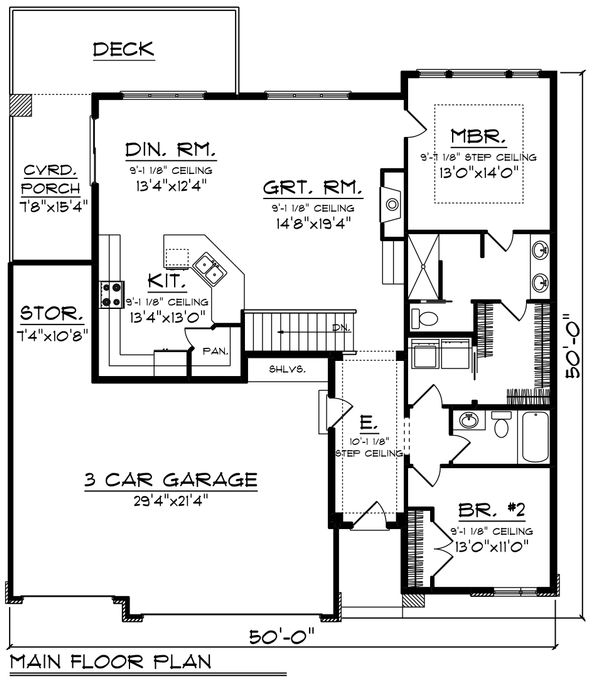 Contemporary Floor Plan - Main Floor Plan #70-1489
